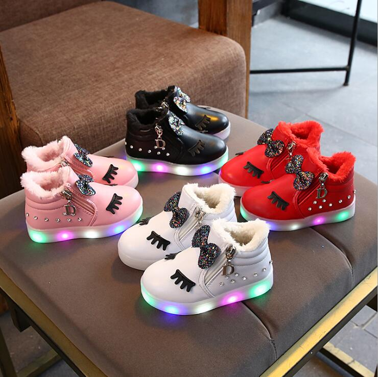Menore Children's Winter Glowing Sneakers For Kids Bow-knot Fashion Warm Sport Footwear For Infant Boys Girls Light Casual Shoes
