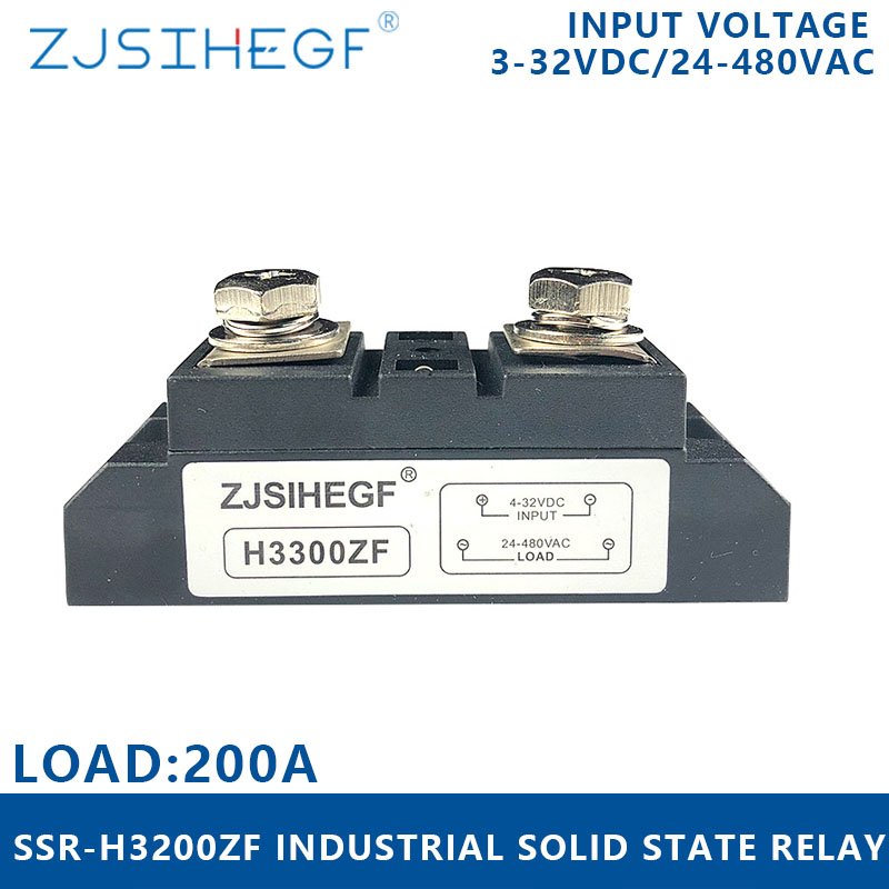 H3200ZF Solid State Relay <font><b>DC</b></font> to <font><b>AC</b></font> 200A Voltage Relay <font><b>3</b></font>-32V <font><b>DC</b></font> to <font><b>24</b></font>-680V <font><b>AC</b></font> SSR 200A for high voltage industrial controller image
