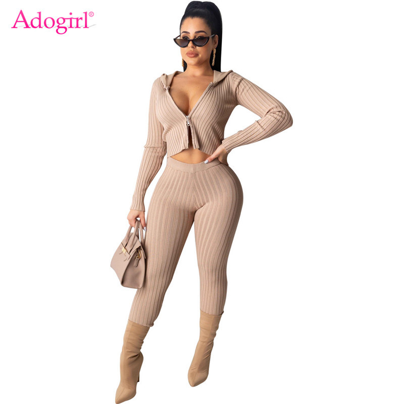 Adogirl Women Fashion Sexy Ribbed Two Piece Set Zipper Long Sleeve Hooded Jacket Crop Top Pencil Pants Night Club Knitted Suits