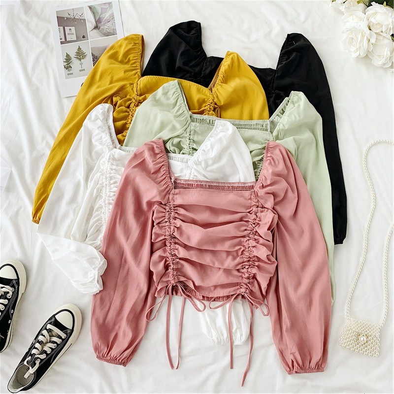 Women Long Sleeve Square Collar Chiffon Shirt Lady Thin Rope Solid Color Short Crop Tops H829