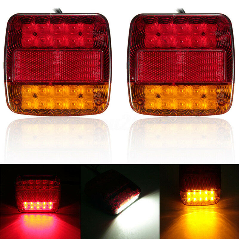 2pcs New 12V LED Car Trailer Truck Taillight Brake Stop Turn Signal Light AS+ABS Shock Resistant Universal Car Lights