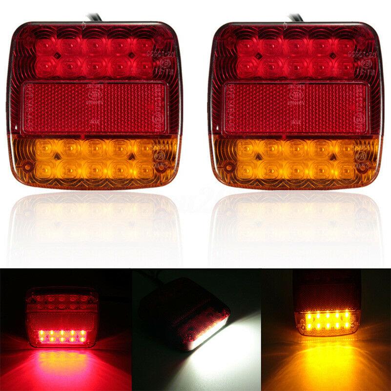 2pcs New 12V LED Car Trailer Truck Taillight Brake Stop Turn Signal Light AS+ABS Shock Resistant Universal Car Lights