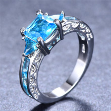 Vintage Female Blue Crystal Stone Ring Trendy Silver Thin Engagement Rings For Women Cute Rainbow Square Hollow Wedding Ring bocai silver makeup india nepal bali silver acts the role of by hand rainbow blue moon stone ring
