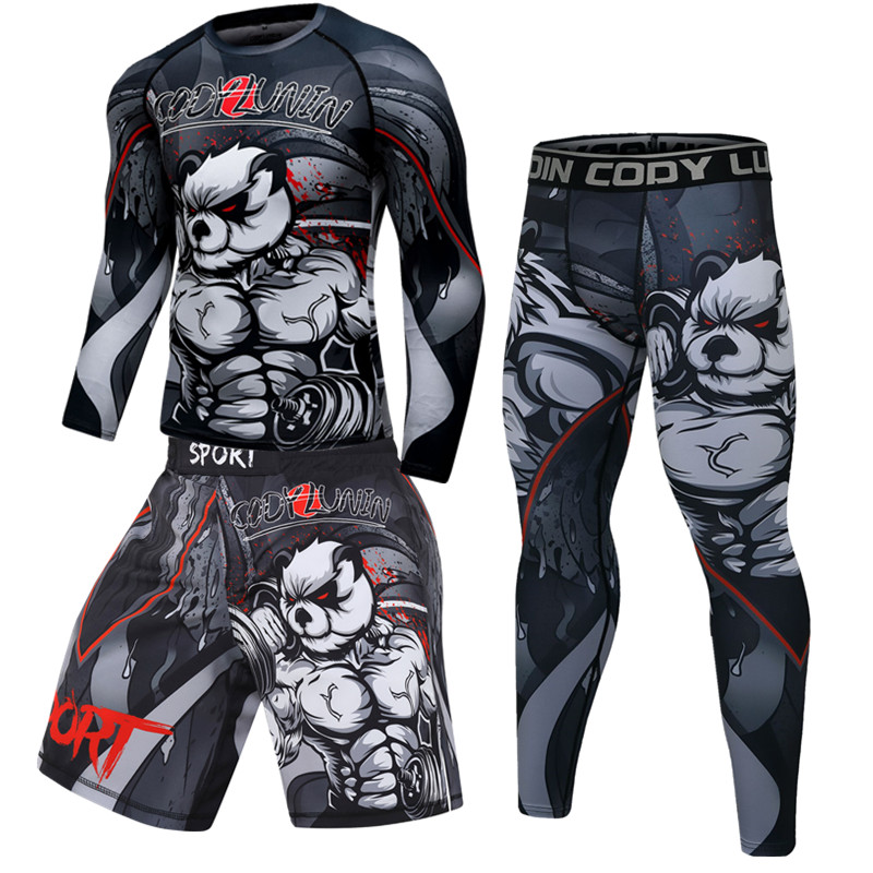 Camiseta e Calça para Homens Masculina para Boxe e Mma Shorts de Muay Camiseta Fitness Thai Kickboxing Jitsu Fechar Marca Jiu