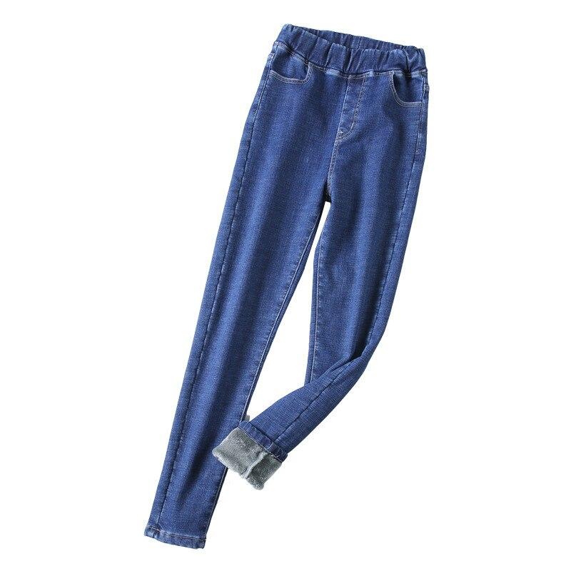 Women High Waist Fleece Jeans Winter Solid Thickening Denim Pencil Pants Sexy Snow Jeans  OL Trousers Warm Streetpants P9247