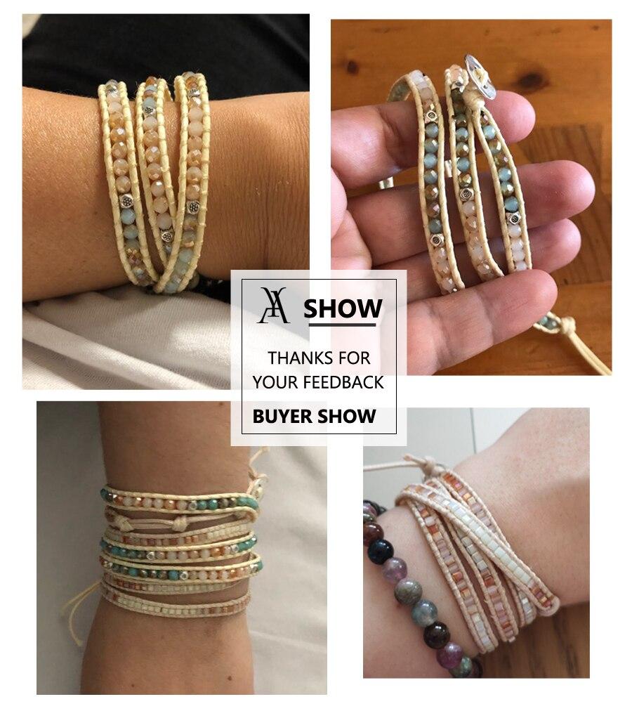 Boho Handmade Woven Stone Beads Bracelets for Women Vintage Multi Layered Wrap Bracelet Armband Charm Bracelet Pulseras Mujer