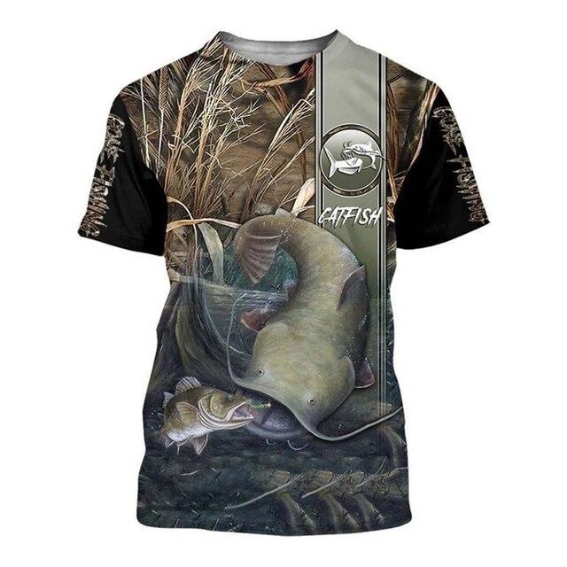 Catfish stripe Fishing T Shirt All Over Print