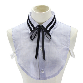 Black Bow Cotton Shirt Women Sweater Decoration Dickie Fake Collar Detachable New Free Shipping