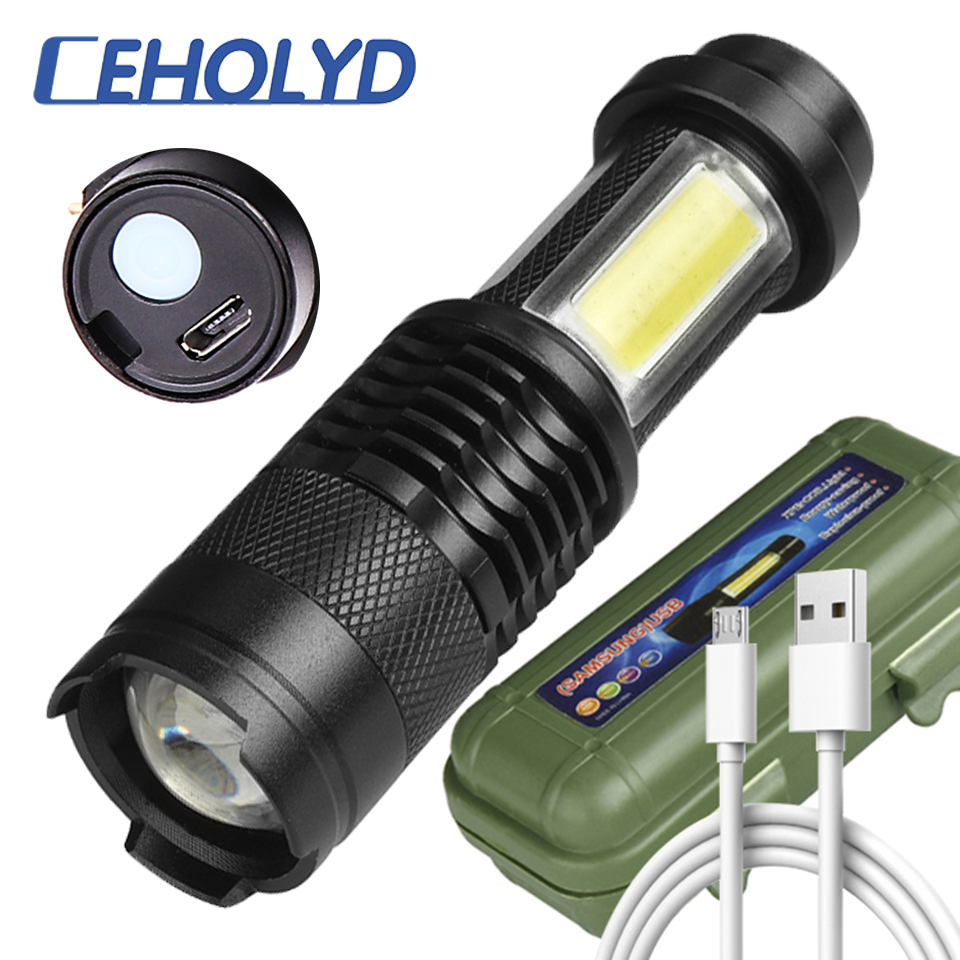 Built In Battery XP-G Q5 Zoom Focus Mini Led Flashlight Torch Lamp 2000 Lumens Adjustable Penlight Waterproof For Outdoor
