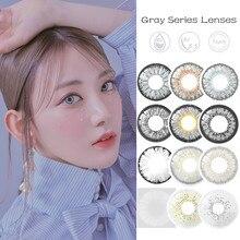 Серый цвет контактные линзы для глаз ежегодно Применение мягкие контактные линзы 2 шт./пара серый серии Цветной контакты объектив вечерние ...