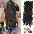 YunRong Nu Locs вязаные волосы 36 24 18 дюймов искусственные локоны для наращивания синтетические мягкие богини плетение дредов для черных женщин