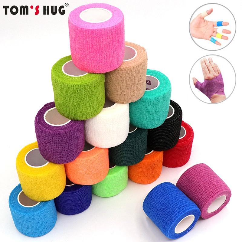 4.5m Colorful Elastoplast Self Adhesive Elastic Bandage Tom's Hug Sports Knee Finger Ankle Palm Shoulder Athletic Wrap Tape
