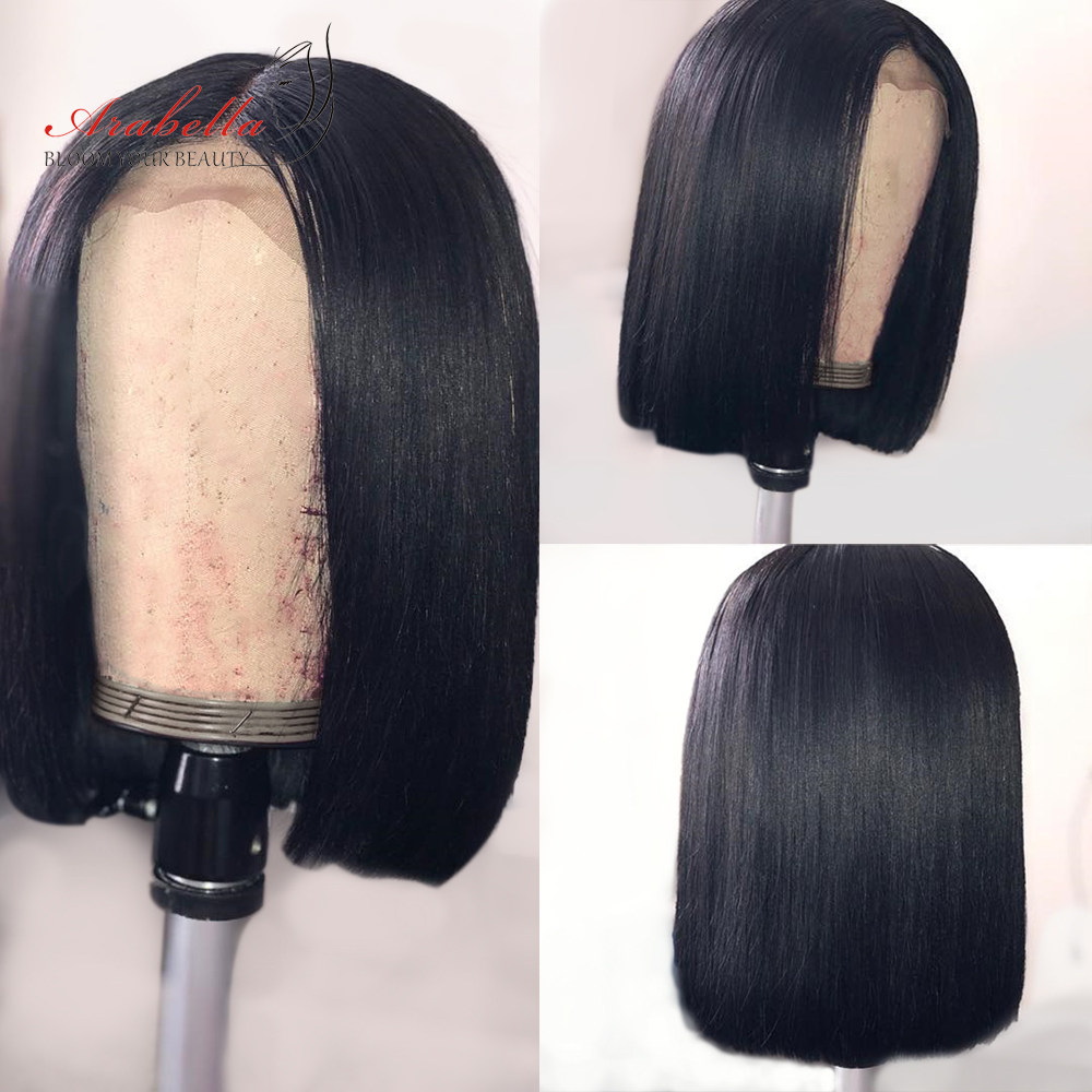 Bob Wig Straight Hair 180% Density 100% Human Hair Wigs Remy Arabella Durable Swiss Lace Closure Wig Pre Plucked Short Bob Wigs