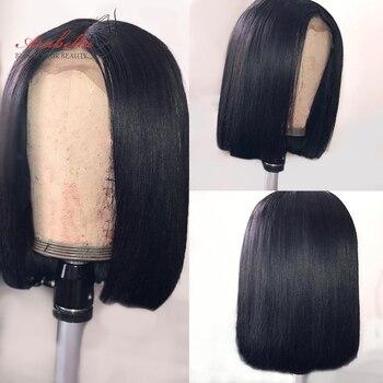 Bob Wig Straight Hair 180% Density 100% Human Hair Wigs Remy Arabella Durable Swiss Lace Closure Wig Pre Plucked Short Bob Wigs