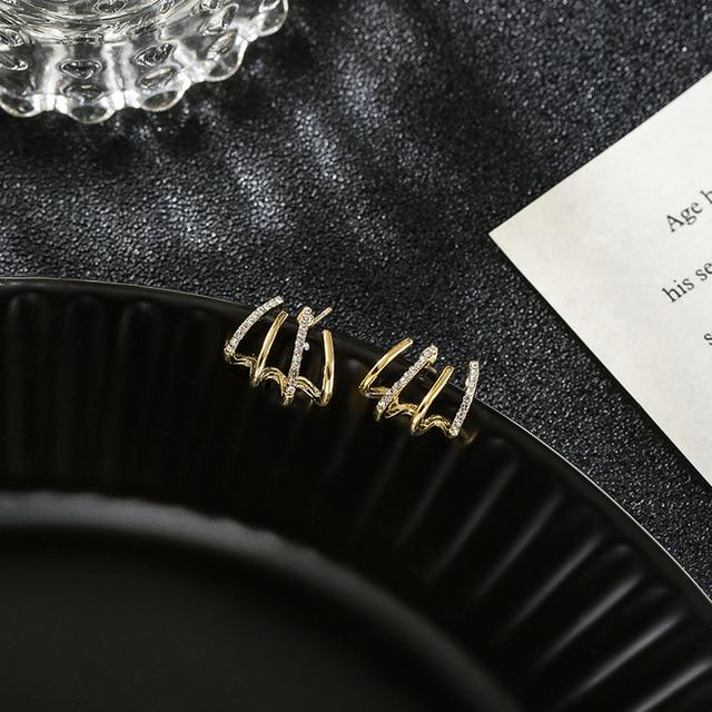 New contracted small Geometric metal Earrings 2020 Korean shiny crystal sweet fresh senior Women Stud Earrings 5