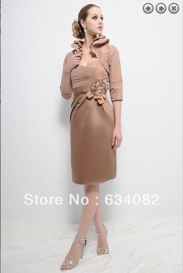 Free Shipping New Design Dinner 2018 Elegant Plus Size Vestidos Formal Short Mother Of The Bride Dresses With Jacket