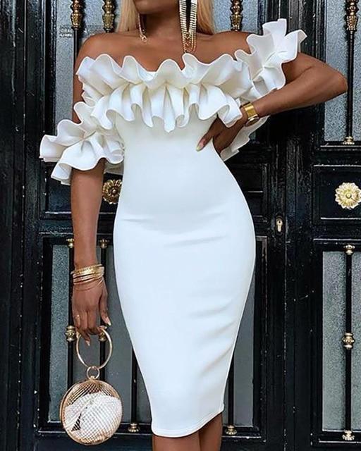 Off Shoulder Ruched Design Bodycon Dress 2