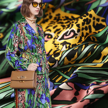 Charmeuse Pajama-Shirt Satin-Fabric Tiger Silk Summer Dress 100x140cm Flower-Print Sewing