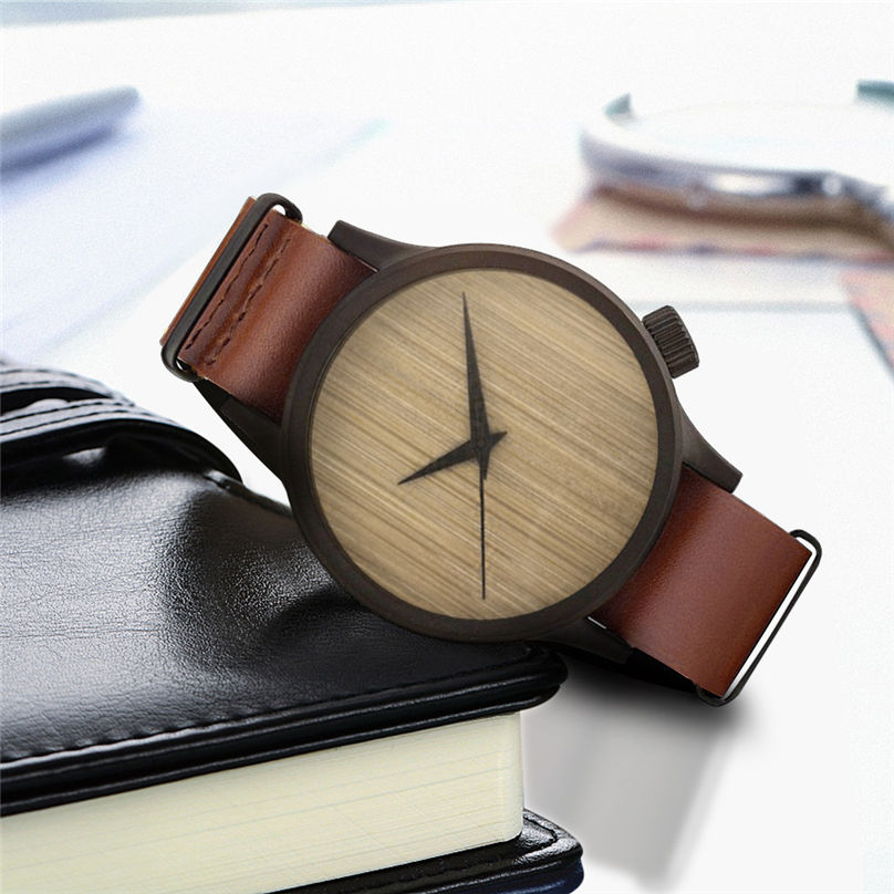 New Casual Fashion Wooden Watch Men`s And Women` Bamboo Men Leather Watches 3N25 (2)