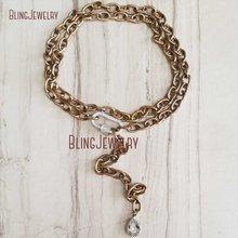 Антикварная Золотая цепь Ожерелье Серебро CZ Pave Oval винтовая застежка ожерелье Калибр Зажим NM28263