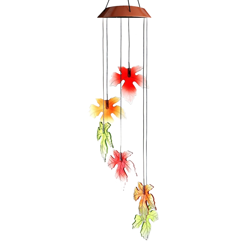 Solar Wind Chime Light Fall Maple Outdoor Solar Wind Mobile Changing Color Decoration Lights For Patio Deck Garden