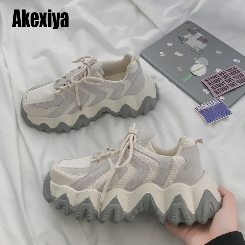 New Designer Shoes Woman Wedges Platform Sneakers Lace-Up Tenis Feminino Casual Chunky Sneakers Ladies Zapatos Mujer Gray Beige