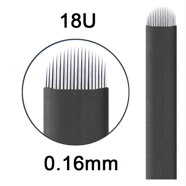 Laminas Tebori Nano 0,16mm 18 forma de U Nano aguja o cuchilla para Microblading Tattoo Needles para maquillaje permanente lápiz de cejas Agulhas