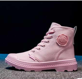 2019 autumn and winter candy color girls high canvas shoes breathable new Martin boots casual women's shoes 74