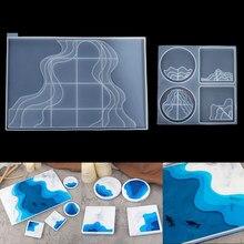 長方形トレイシリコンモール棚田海スタイル正方形コースターエポキシ樹脂uv型diyの樹脂工芸家の装飾ツール