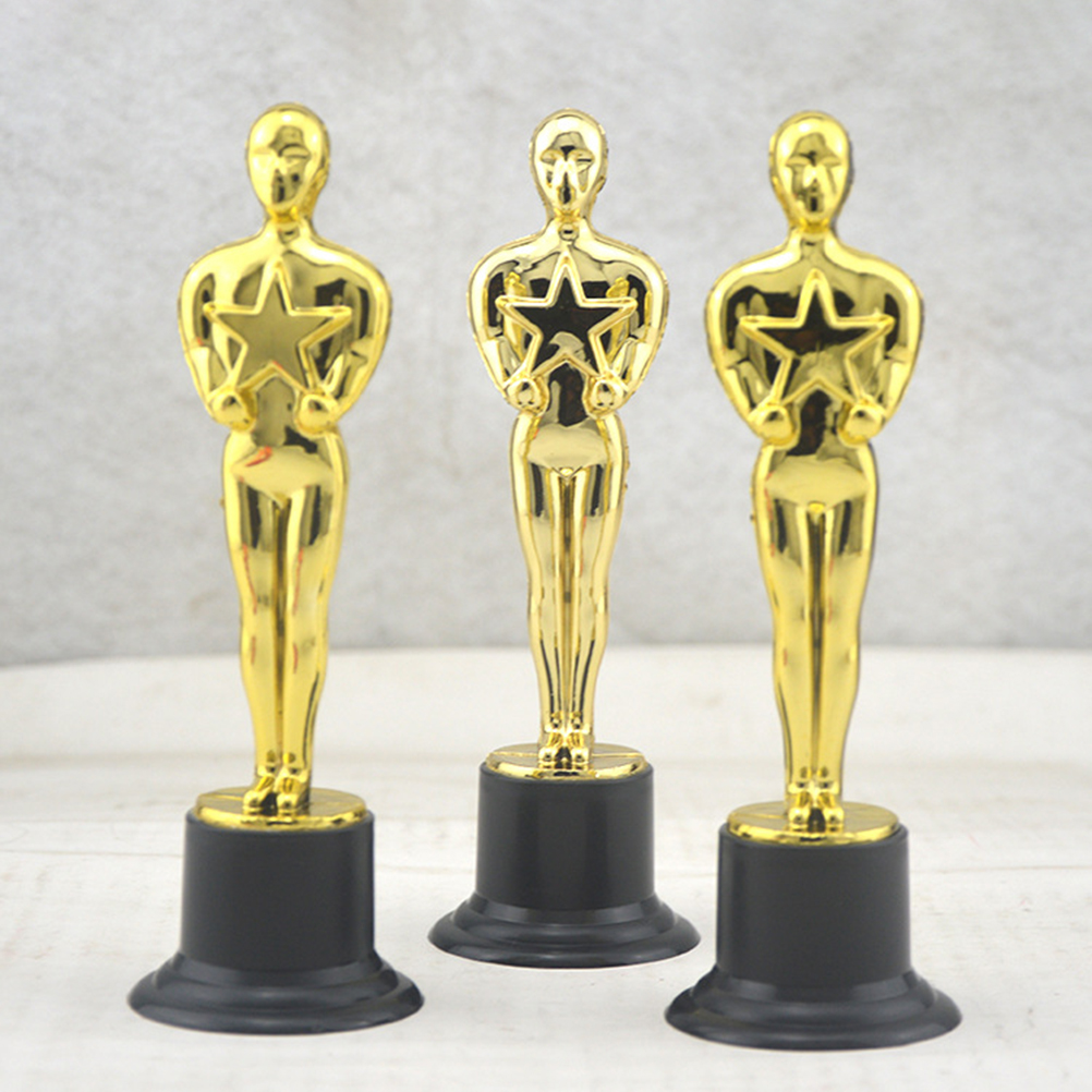 6 Pcs Sports Competition Trophy Golden Award Trophy Reward Prizes For Party Celebrations Ceremony Appreciation Gift Sport Awards