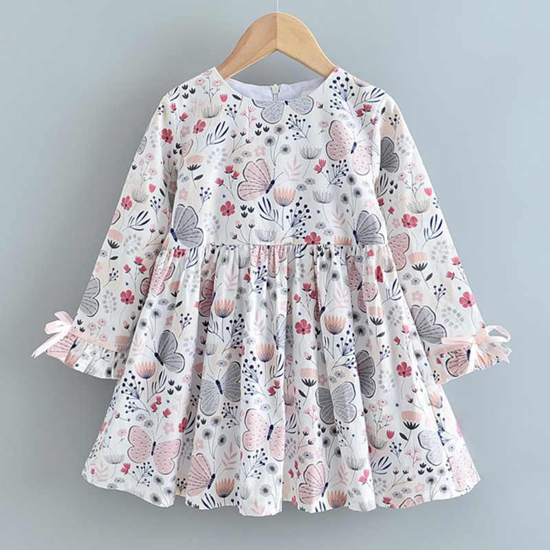 Menoea 여자 드레스 새로운 가을 a 라인 스트 라이프 긴 소매 어린이 의류 3-7Years 파티 드레스 캐주얼 프릴 아이 드레스