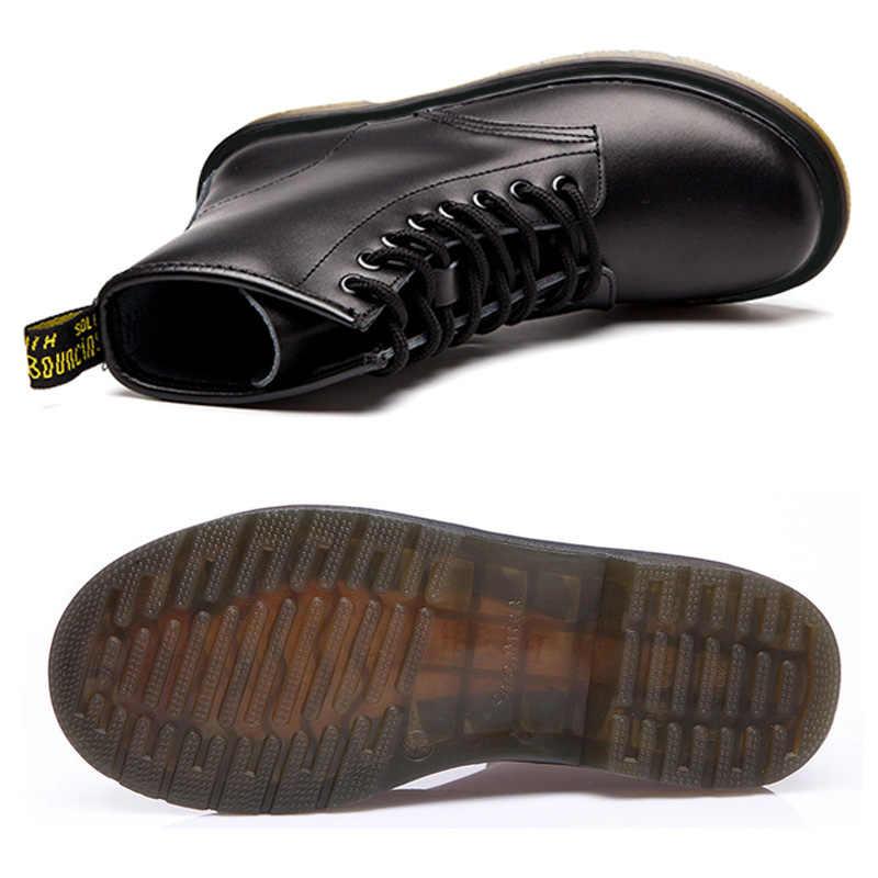 LAKESHI אמיתי עור נשים מגפי Dr קרסול עבודת החורף Safeti מגפי מוצק קרסול מגפי פאנק נשים נעלי גודל 46