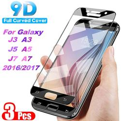 3pcs 9D Tempered Glass For Samsung Galaxy A3 A5 A7 J3 J5 J7 2016 2017 S7 Screen Protector on the For A520 A720 A510 J510 J730