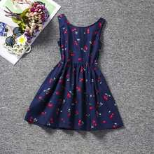 Berry Print Summer Dress for Girls Children Girls Special Cherry A-line Kids Dresses for Girls 2 3 4 5 6 Years Girls Clothing cheap JXDHN Viscose Polyester COTTON Knee-Length O-neck REGULAR Sleeveless Casual Fits true to size take your normal size PATTERN