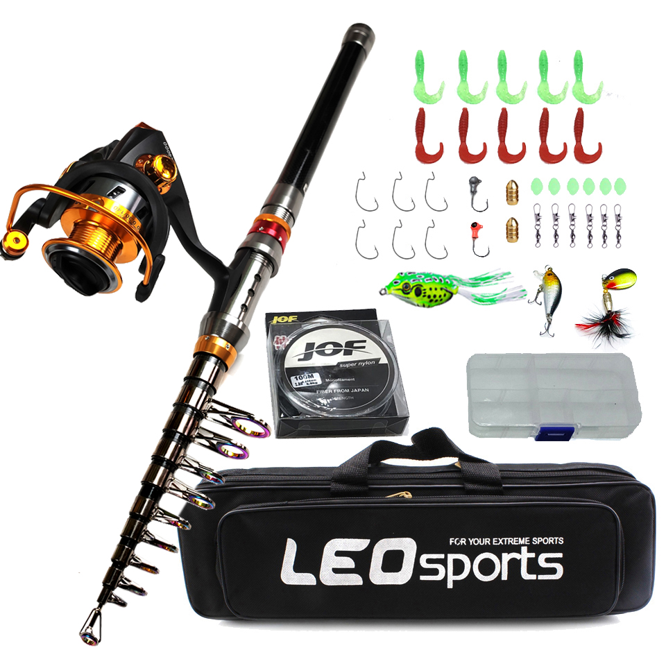 1.8-3.6m Carbon Telescopic Fishing Rod Combo Spinning Reel Fishing Set Bag Short  Travel Stick Carp Bass Pike Boat Rod Full Kit