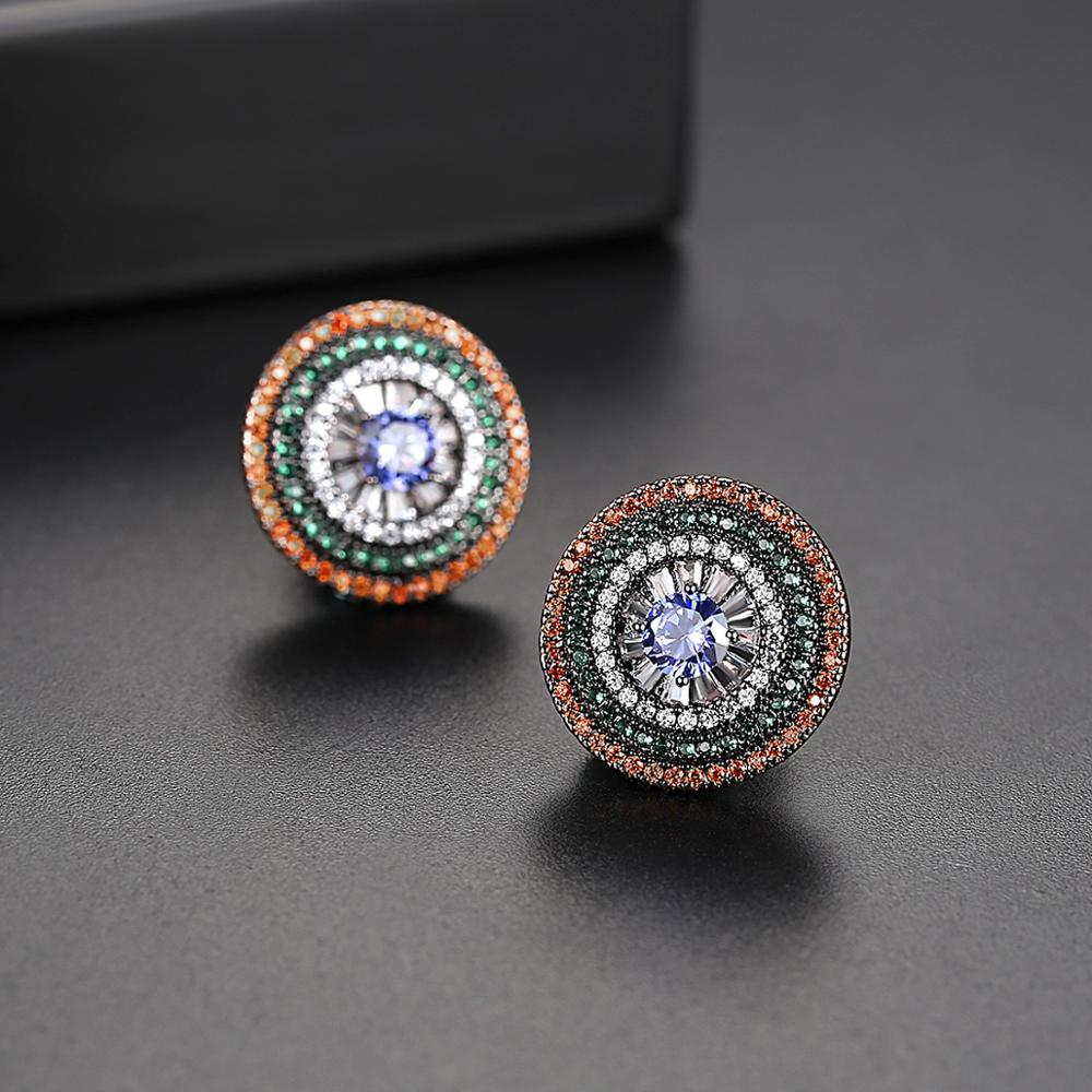 LUOTEEMI Charmful Design Colorful Round Stud Earrings For Women Wedding Party Multicolor Cubic Zircon Paved Fashion Oorbellen