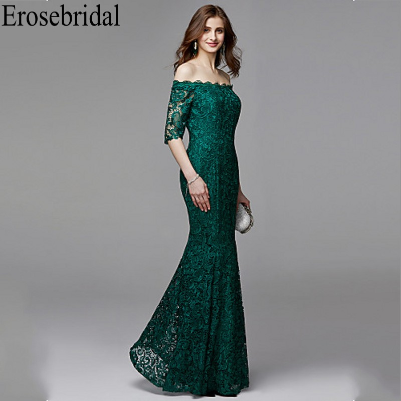 Image 3 - Erosebridal Half Sleeve Long Formal Dresses Evening Gown for Women Elegant Boat Neck Long Evening Dress 2019 Emerald Green Dress-in Evening Dresses from Weddings & Events