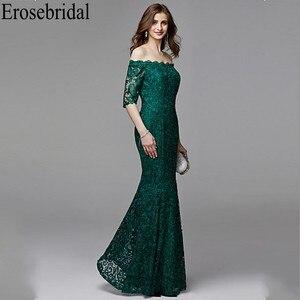 Image 3 - Erosebridal yarım kollu uzun resmi elbiseler gece elbisesi kadınlar için zarif tekne boyun uzun gece elbisesi 2019 zümrüt yeşili elbise