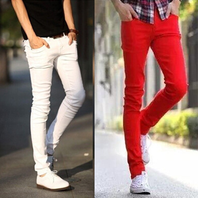 New Style Pants Students White Youth Slim Women's Skinny Jeans Men's Summer Korean-style Trend Slimming