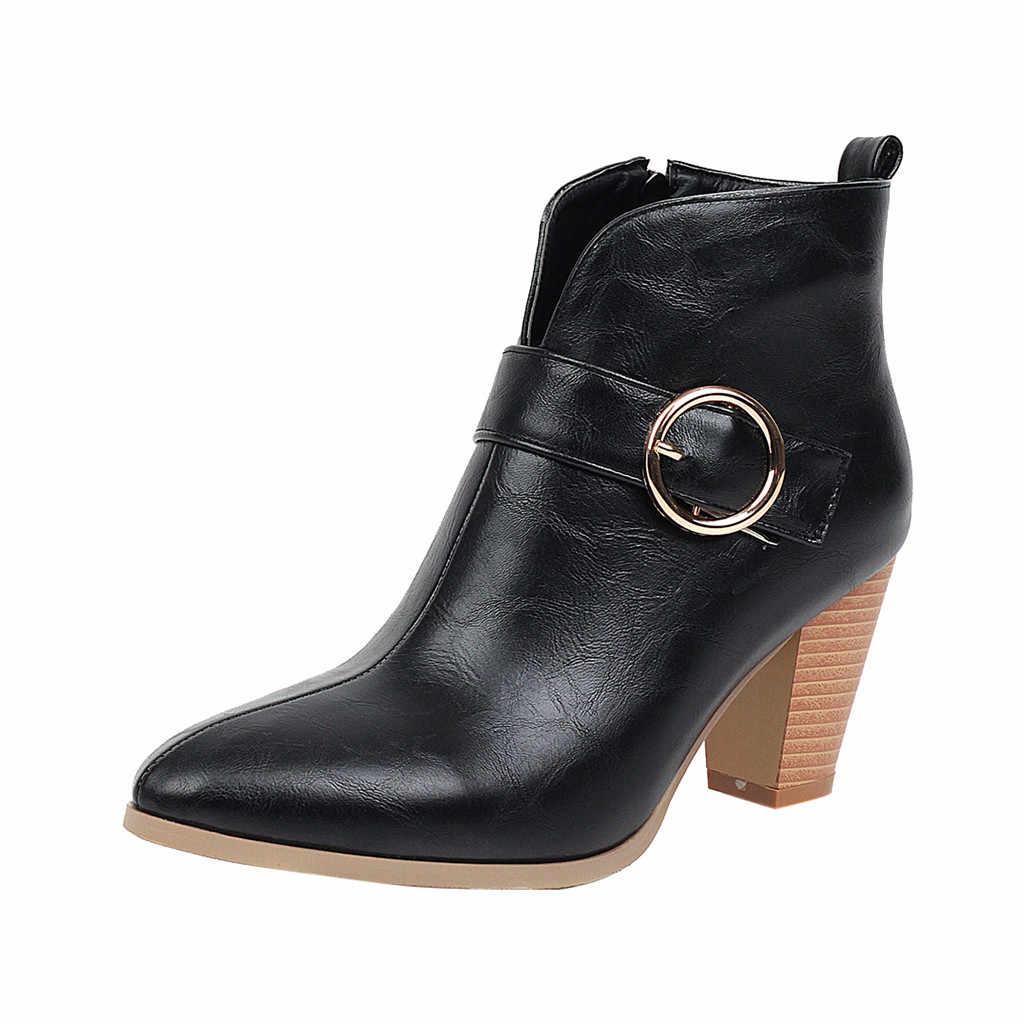 Mode Reine Farben Spitz Zipper Stiefel Quadratische Fersen Vintage Frauen Stiefel schuhe frau stiefel frauen zapatos de mujer