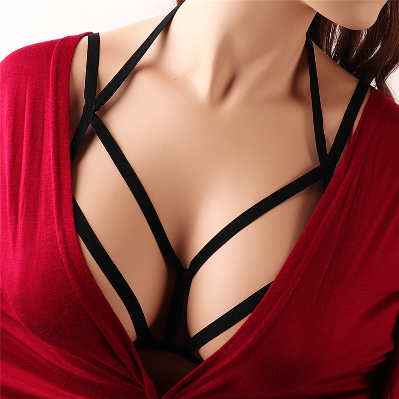 Women's Punk Body Waist Tie Adjustable Elastic Body Chain Harness Suspenders Black Harness Bra Elastic Caged Bralette