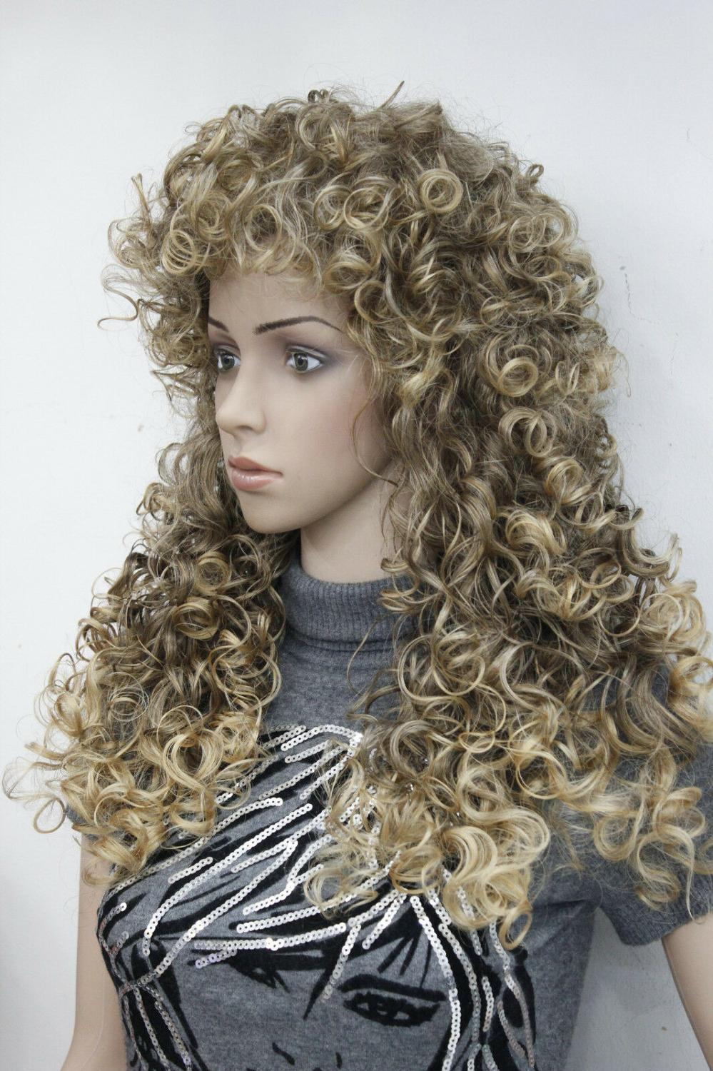 Fashion Sexy Brown Mix Blonde Tip Loose Curls 24
