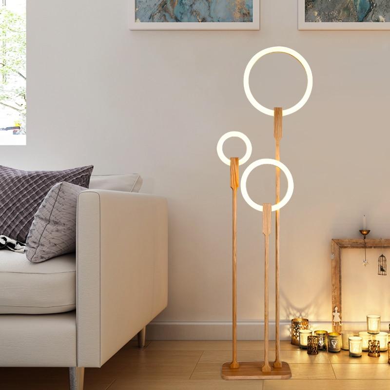 Деревянная Напольная Лампа в скандинавском стиле светодиодный гостиная стоящая лампа Современное акриловое Домашнее освещение