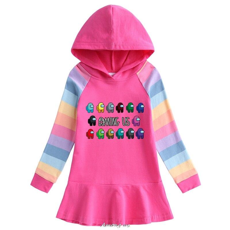 Among us Hooded Dresses for Girl Clothes Cotton Princess Dress Kids Dresses Children Clothing Girls Autumn Dress 3