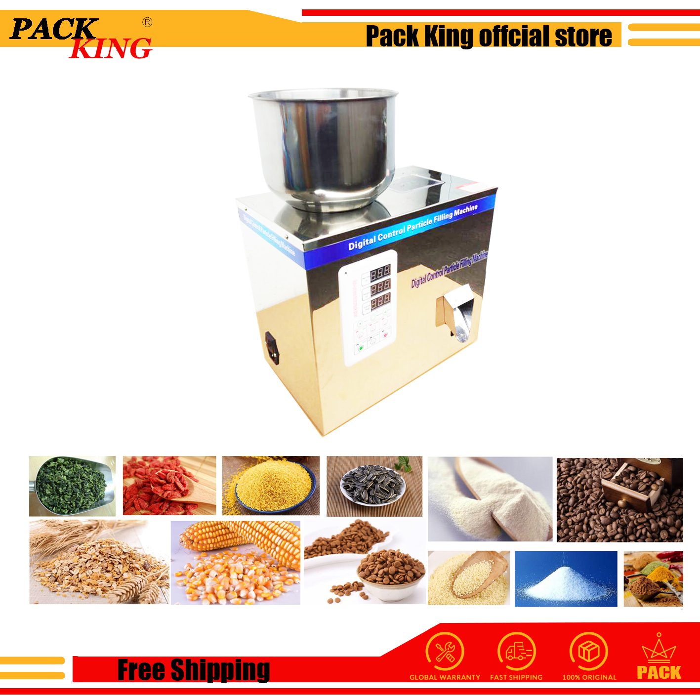 50g Tea Leaf Corn Grain Medicine Seed Salt Rice Weighing And Filling Machine Niblet Sesame Racking Machine Powder Filler