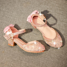 Fashion Bow Sequins High Heels Little Girls Summer Sandals Kids Shoes