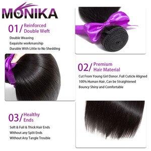 Image 3 - Monika cheveux malaisie paquets de cheveux raides avec Frontal 28 pouces cheveux humains frontaux avec faisceaux non remy cheveux frontaux et faisceaux