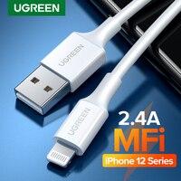 UGREEN MFi Cable USB para iPhone 12 mini 12 Pro Max 2.4A de carga rápida USB cargador de Cable de datos para iPhone X 11 8 de carga USB Cable