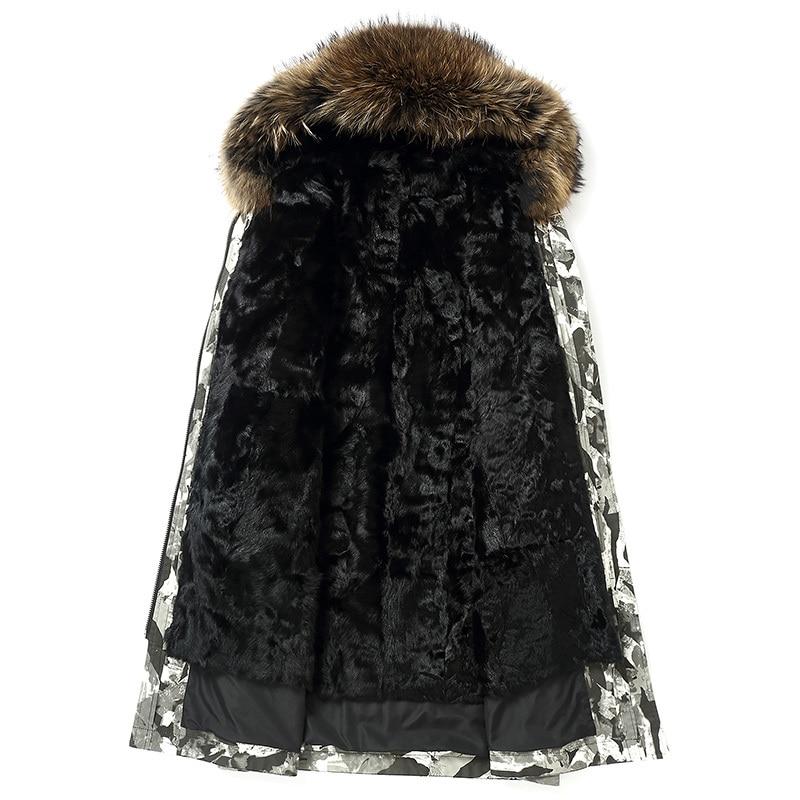 Parka Homme Winter Jacket Men Natural Wool Fur Liner Camouflage Parkas Raccoon Fur Collar Long Coat Z1818135P MY1427