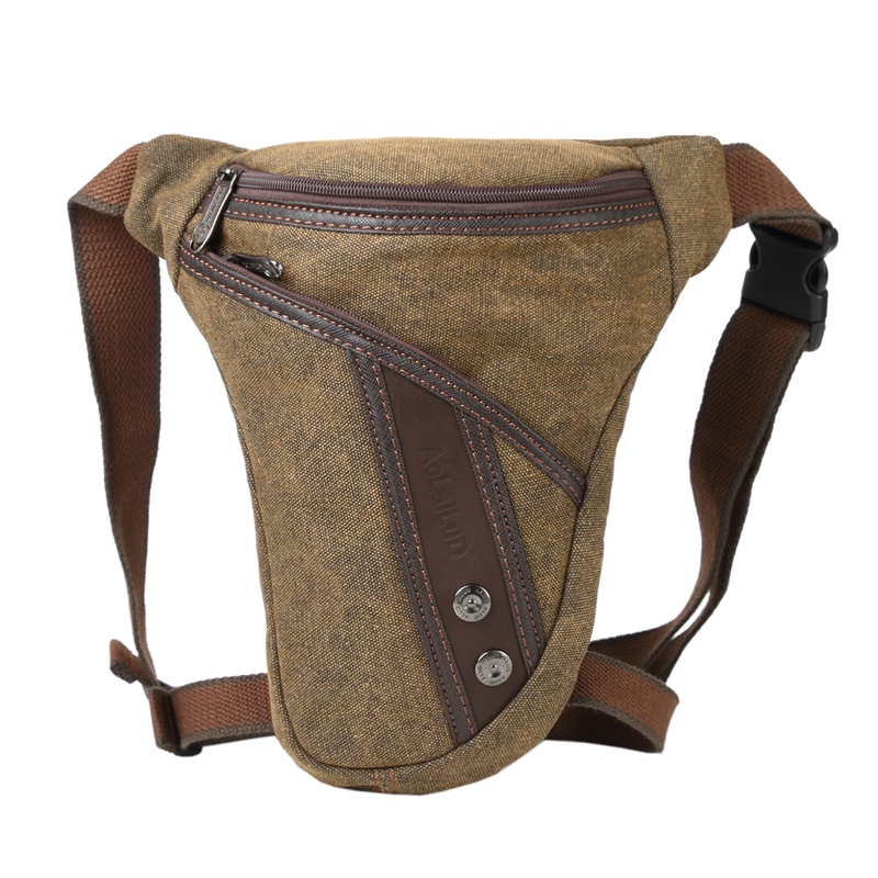 AOLAILUDI Casual Fashion Motorcycle Rider Drop Leg Bag Men Canvas Travel Male Belt Bum Waist Fanny Pack